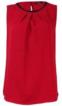 Nine West Women's Sequined-Neck Pleated Sleeveless Top