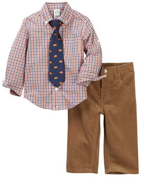 Little Me Orange Check Woven Pant Set (Baby Boys)