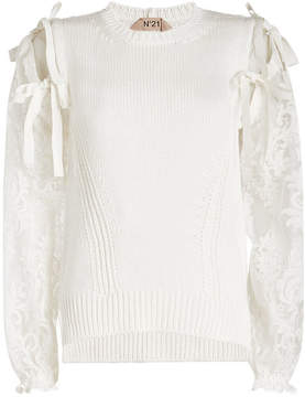 N°21 N21 Cotton Pullover with Lace Sleeves