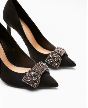 Express embellished bow pointed toe pumps