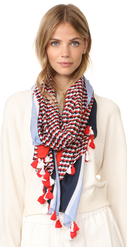 Tory Burch Windsurf Colorblock Logo Scarf