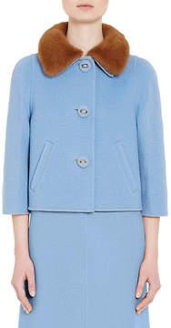 Prada Women's Mink Fur-Trimmed Camel Jacket