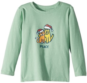 Life is Good Peace Cat Dog Long Sleeve T-Shirt Kid's T Shirt