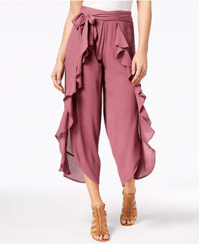 American Rag Juniors' Front-Tie Ruffle Pants, Created for Macy's