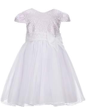 Bonnie Jean Little Girls 2T-6X Cap-Sleeve Bow Tulle Dress