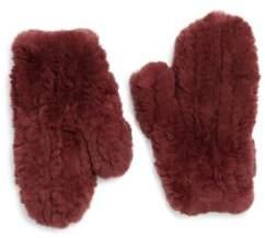 Yves Salomon Knitted Rex Fur Mittens
