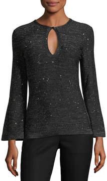Carolina Herrera Bell-Sleeves Keyhole-Front Metallic Knit Sweater