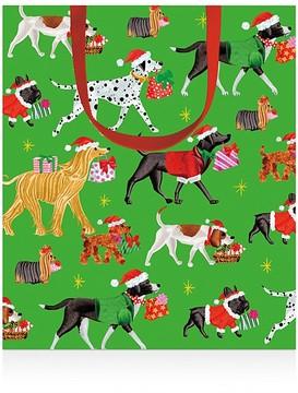 Caspari Christmas Pups Small Gift Bag