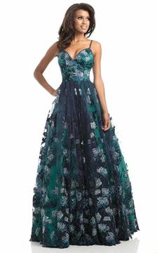 Johnathan Kayne 7036 Graphic Floral Applique A-line Gown