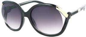 Kay Unger Black Simone Round Sunglasses
