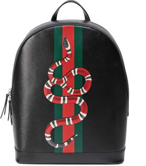 Gucci Web and Kingsnake print leather backpack