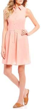 Copper Key Sleeveless Button Front Shirt Dress