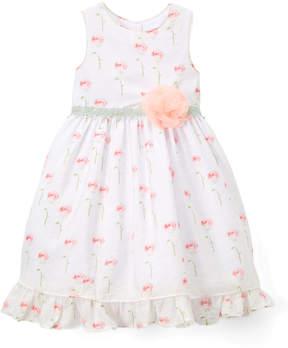 Laura Ashley White & Pink Floral Sleeveless Dress - Infant & Toddler