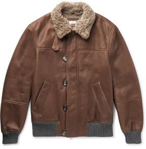 Brunello Cucinelli Cashmere-Trimmed Shearling Bomber Jacket
