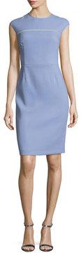 Escada Cap-Sleeve Virgin Wool Crepe Sheath Dress, Lilac