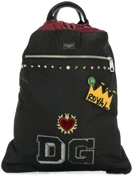 Dolce & Gabbana drawstring patch backpack