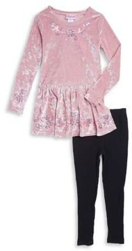Flapdoodles Little Girl's Two-Piece Velvet Dress and Ribbed Leggings Set