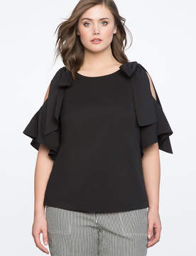 ELOQUII Cold Shoulder Flutter Top