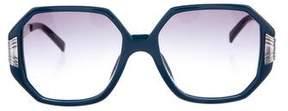 Linda Farrow Luxe Gradient Round Sunglasses