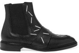 Christopher Kane Staples Embellished Textured-Leather Chelsea Boots