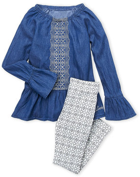 Lucky Brand Girls 4-6x) Two-Piece Embroidered Denim Top & Leggings Set