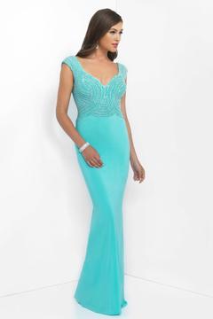 Blush Lingerie Beaded Sweetheart Jersey Sheath Dress 11048