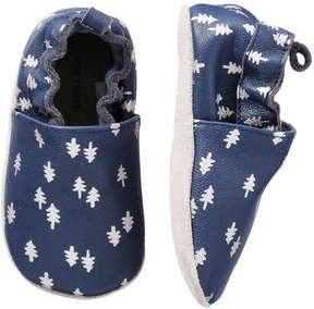 Joe Fresh Baby Boys' Print Leather Footlets, Navy (Size M)
