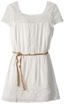 Ella Moss Crochet Dress with Faux-Leather Belt Girl's Dress