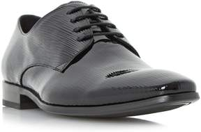 Dune London RAZZ - BLACK Patent Embossed Chisel Toe Gibson Shoe