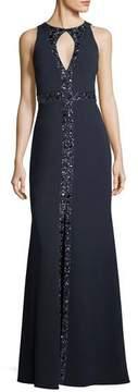 Aidan Mattox Embellished Crepe Keyhole Gown