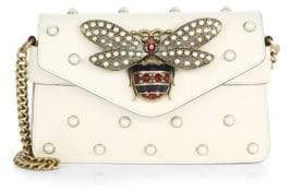 Gucci Broadway Bee Studded Leather Chain Clutch - WHITE - STYLE