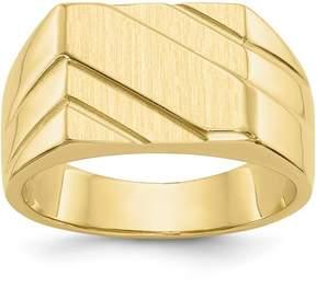 Ice 14k Polished Diagonal Mens Signet Ring