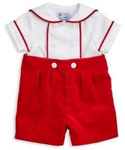 Florence Eiseman Baby's Two-Piece Twill Shirt & Velvet Shorts Set