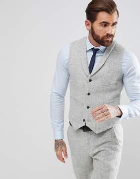 Asos Slim Suit Vest in 100% Wool Harris Tweed Herringbone In Light Gray