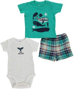 Carter's Baby Clothing Outfit Boys 3-Piece Bodysuit & Shorts Set Big Splash Mint NB