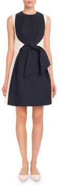 DELPOZO Sleeveless High-Neck Tie-Front Heavy Cotton Knee-Length Dress