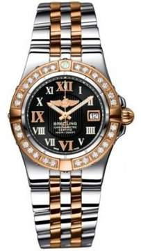 Breitling Galactic 30 Black Dial Steel and 18kt Rose Gold Ladies Watch