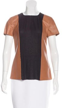 Tod's Leather & Silk Top