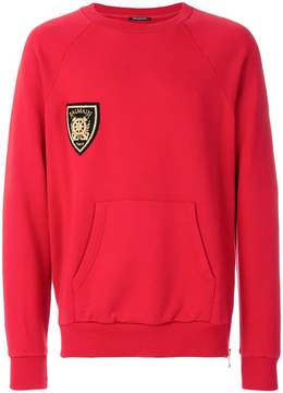 Balmain embroidered patch sweatshirt