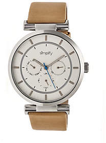 Simplify Tan Leather Strap Watch with White Dial