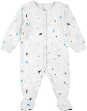 Petit Lem White Geometric Footie - Newborn & Infant