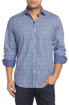 Bugatchi Men's Classic Fit Weave Print Sport Shirt