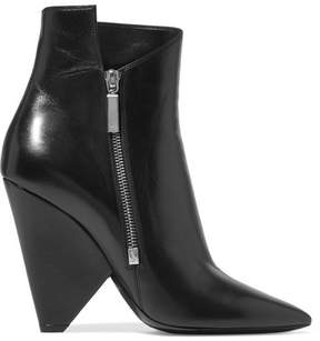 Saint Laurent Niki Leather Ankle Boots - Black