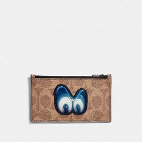 Coach Disney X Zip Card Case In Signature With Patch