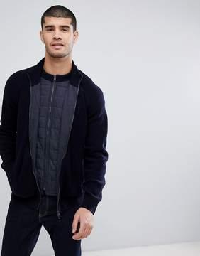 Barbour International Camber Zip Thru Knitted Sweater in Navy