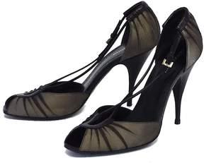 Giorgio Armani Silver & Black Mesh Peep Toe Heels