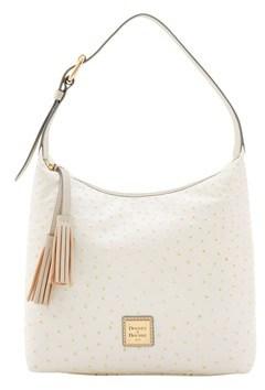 Dooney & Bourke Ostrich Paige Sac Shoulder Bag. - BONE LIGHT GREY - STYLE
