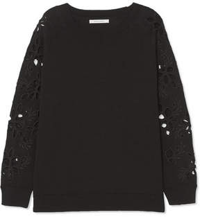 Chinti and Parker Broderie Anglaise-trimmed Cotton Sweater - Black