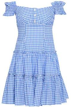 Caroline Constas Maria Off-the-shoulder Gingham Cotton-poplin Mini Dress- Light Blue