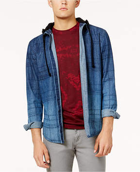 American Rag Men's Distressed Sketch-Plaid Shirt Jacket with Removable Hood, Created for Macy's